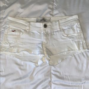 White Destroyed Hollister Low-Rise Shorts